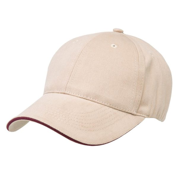 Basic Two Tone Cap - Natural/Maroon