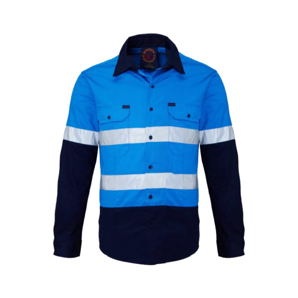 Hi Vis Taped Long Sleeve Work Shirt - Blue/Navy