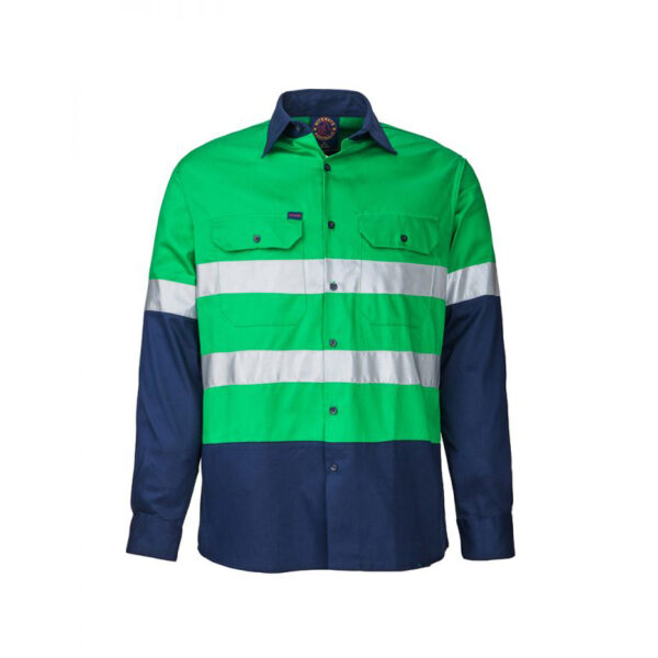 Hi Vis Taped Long Sleeve Work Shirt - Emerald/Navy