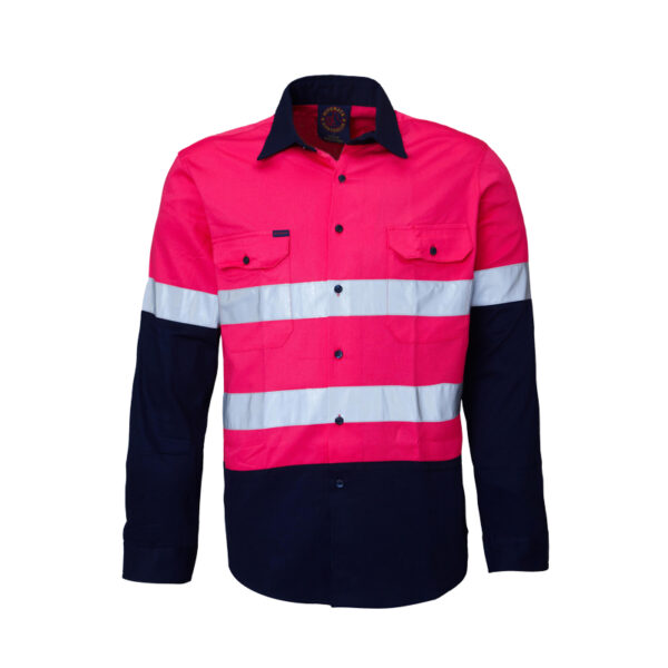 Hi Vis Taped Long Sleeve Work Shirt - Pink/Navy