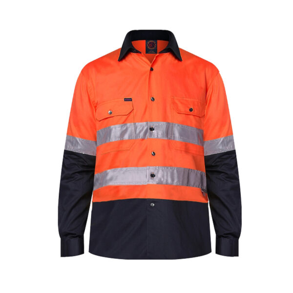 Hi Vis Taped Long Sleeve Work Shirt - Orange/Navy