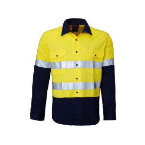 Hi Vis Lightweight Taped Work Shirt - Yellow/Navy