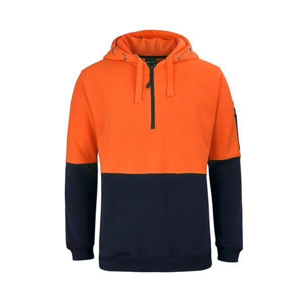Hi Vis Half Zip Hoodie - Orange Navy