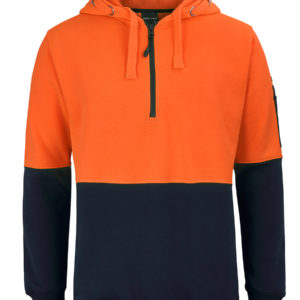 Hi Vis Half Zip Hoodie - Orange Navy
