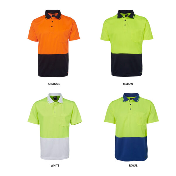 Hi Vis Non Cuff Traditional Polo = Assorted Colour