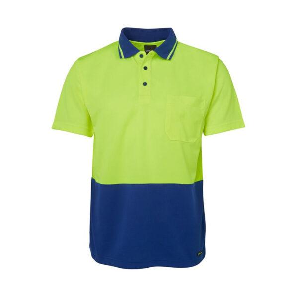 Hi Vis Non Cuff Polo - Yellow/Blue