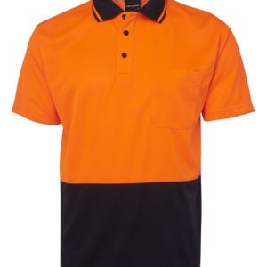 Hi Vis Non Cuff Polo - Orange/Navy
