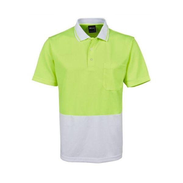 Hi Vis Non Cuff Polo - Yellow/White