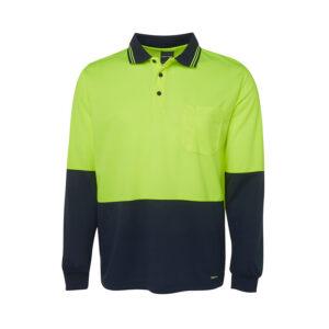 Hi Vis Long Sleeve Polo - Yellow/Navy