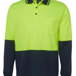 Hi Vis Long Sleeve Polo - Yellow/Navy