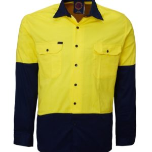 Hi Vis work shirt - Yellow/Navy