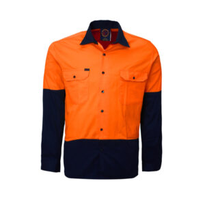 Hi Vis Lightweight work shirt - Orange/Navy