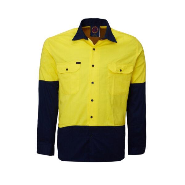 Hi Vis Lightweight work shirt - Yellow/Navy