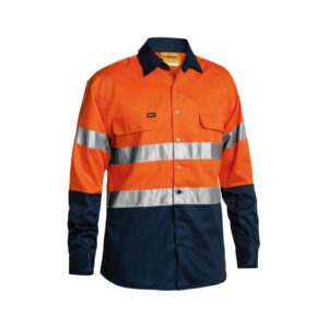 Bisley Taped Work Shirt - Orange/Navy