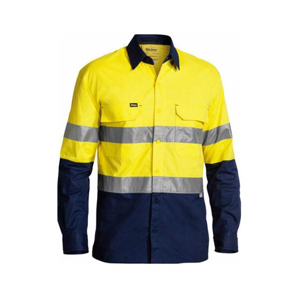 Bisley Taped Work Shirt - Yellow/Navy