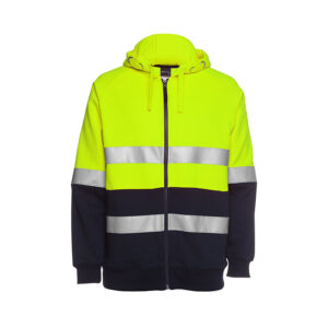 Hi Vis Full Zip Taped Hoodie - Yellow/Navy