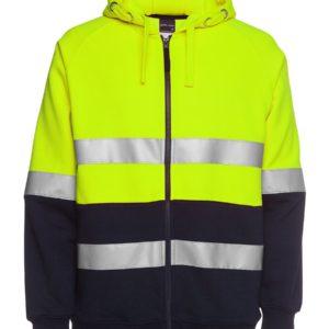 Hi Vis Full Zip Taped Hoodie - Yellow/Navy
