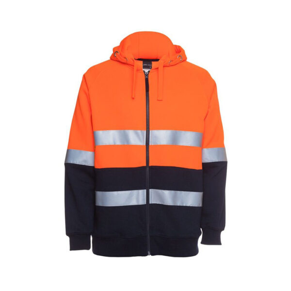 Hi Vis Full Zip Taped Hoodie - Orange/Navy