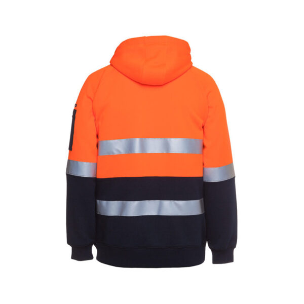 Hi Vis Full Zip Taped Hoodie Back - Orange/Navy