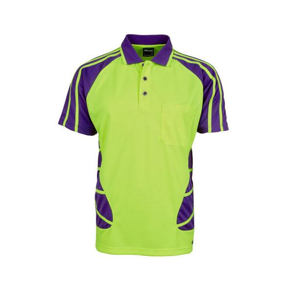 Hi Vis Spider Polo - Yellow/Purple