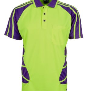 Hi Vis Spider Polo - Yellow/Purple