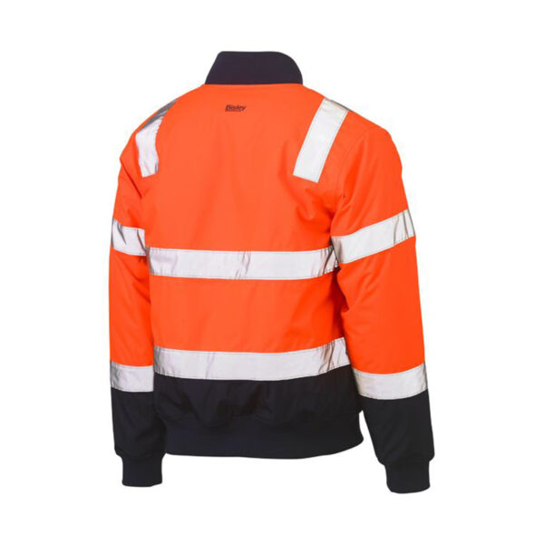 Bisley Hi Vis Taped Bomber Jacket Back - Orange