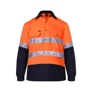 Hi Vis Lightweight Closed Front Taped - Orange/Navy