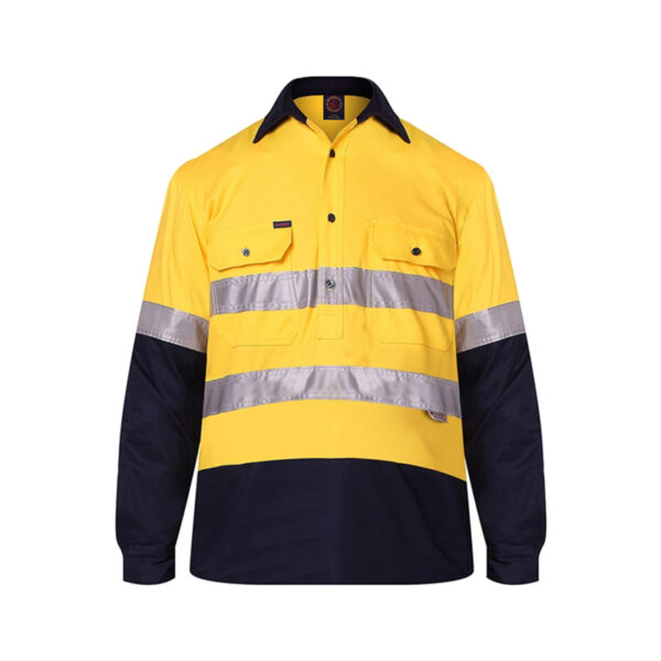 Hi Vis Lightweight Closed Front Taped - Yellow/Navy