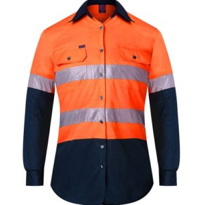 Ladies Hi Vis Taped Work Shirt - Orange/Navy