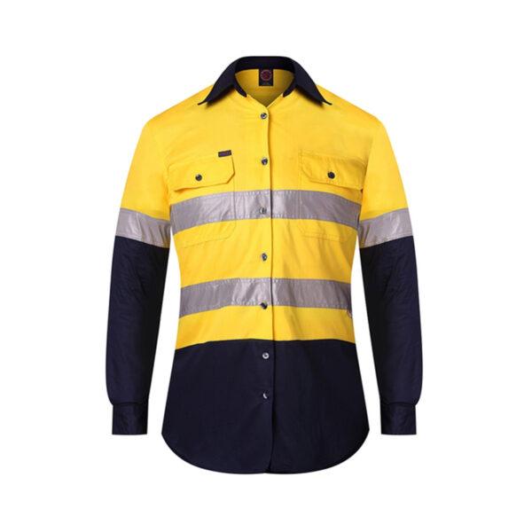 Ladies Hi Vis Taped Work Shirt - Yellow/Navy