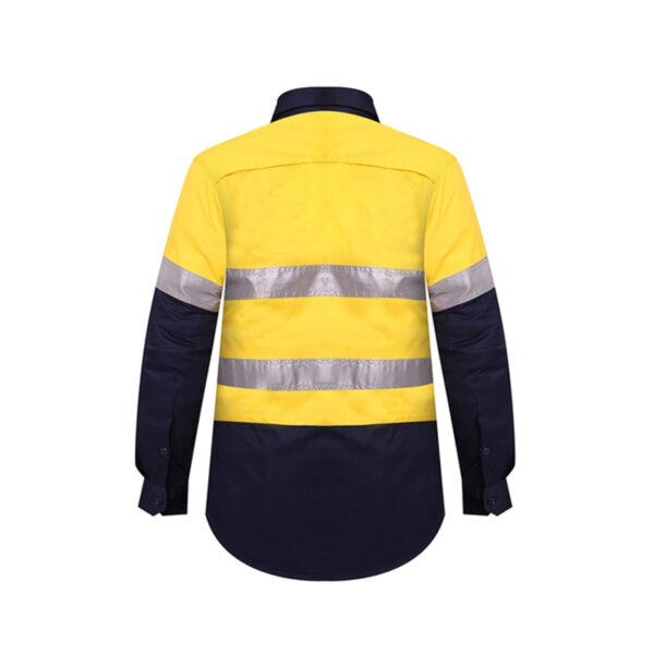 Ladies Hi Vis Taped Work Shirt Back- Yellow/Navy