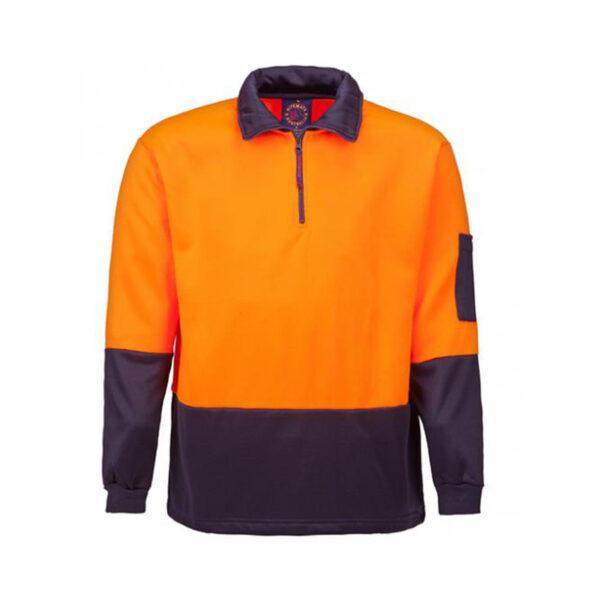 Hi Vis Half Zip Pullover - Orange/Navy