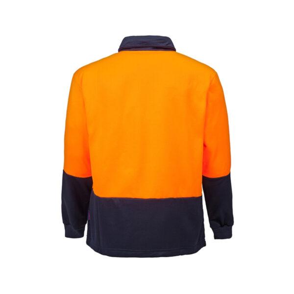 Hi Vis Half Zip Pullover Back- Orange/Navy