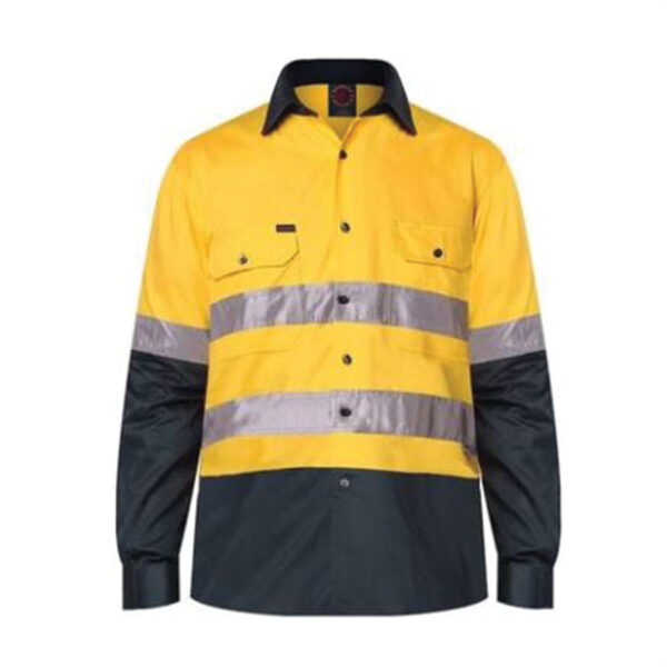 Hi Vis Taped Work Shirt _Yellow Navy