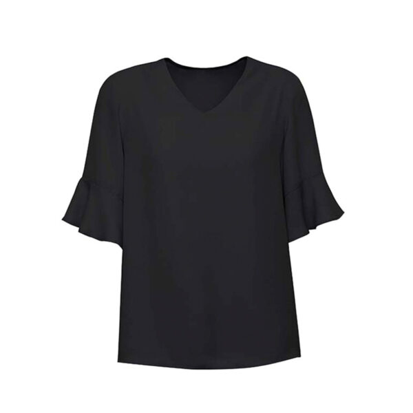 Aria Fluted Sleeve Blouse - Black