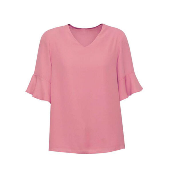 Aria Fluted Sleeve Blouse - Dusty Rose