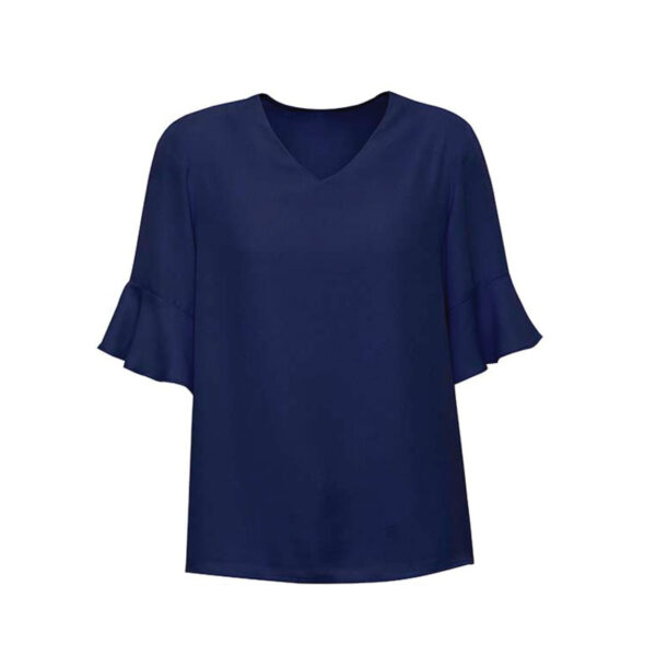 Aria Fluted Sleeve Blouse - Navy
