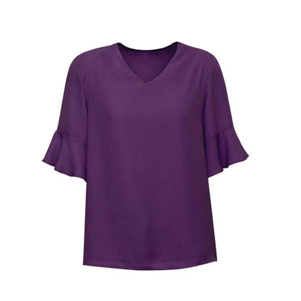 Aria Fluted Sleeve Blouse - Purple