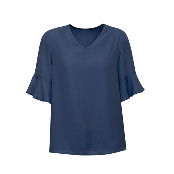 Aria Fluted Sleeve Blouse - Storm Blue