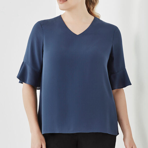 Aria Fluted Sleeve Blouse - Storm Blue Worn
